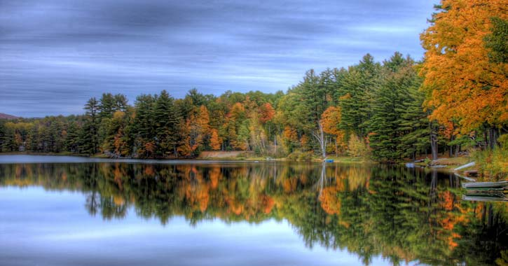 fall foilage and lake reflection